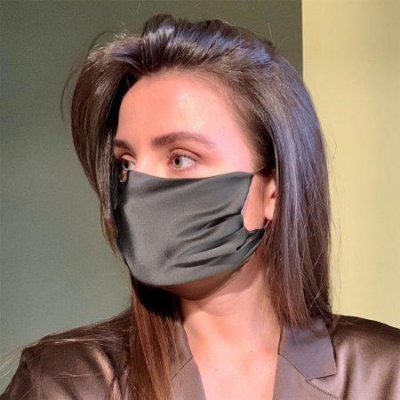Charcoal Grey Silk Face Mask